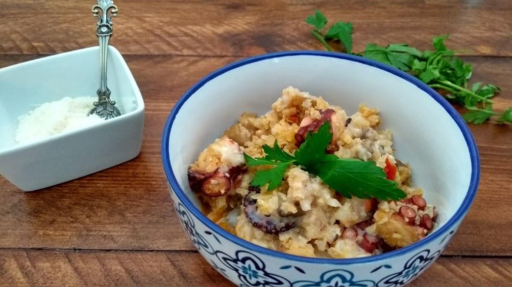risotto 1 - Falso risotto de otoño, con gírgolas y pulpo