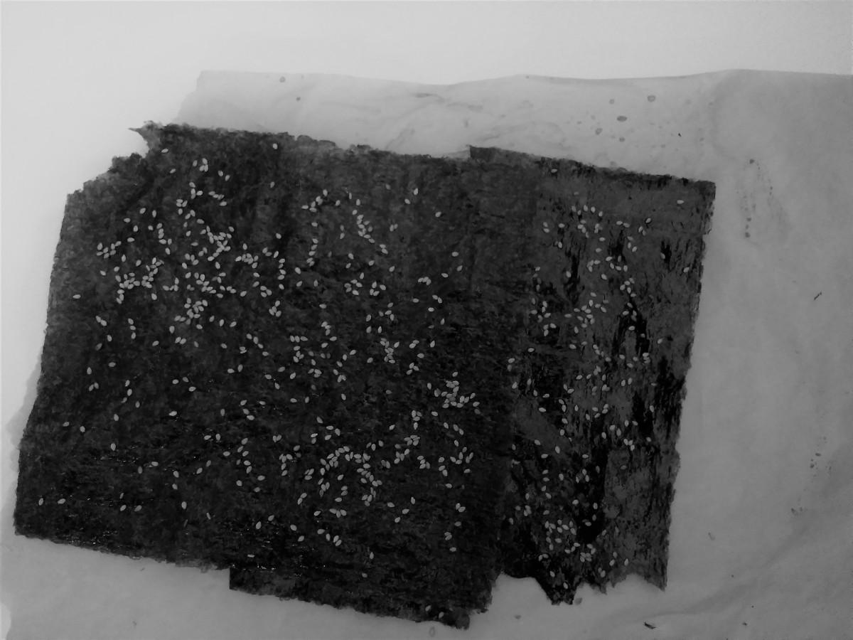 nori - Microensalada raw de pimientos y crujiente de nori